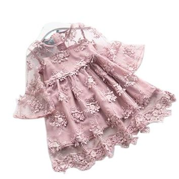 Elegant Girl Dress 2018 Summer Fashion Pink Lace Big Bow Party Tulle Flower Princess Wedding Dresses Baby Girl dress