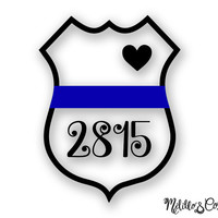 Thin Blue Line Police Wife Car Decal Sticker - Custom Badge Number
