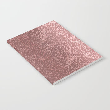 Rose Gold Floral Garden Notebook by Tanyadraws