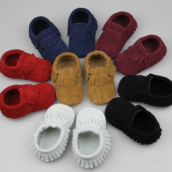 Kids Babe Tassel Moccasins Soft Moccs Footwear Genuine Leather Newborn Baby Infant Toddler First Walkers Prewalker Suede Shoes = 1931921476