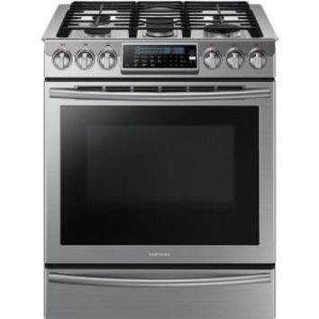 Samsung 30 in. 5.8 cu. ft. Slide-In Gas Range with Self-Cleaning Convection Oven in Stainless Steel NX58H9500WS at The Home Depot - Mobile