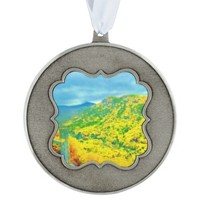 Way Above the Mountains Air Brushed Scalloped Pewter Christmas Ornament