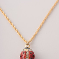 Red Ladybug Fabrege Egg Styled Pendant Necklace Faberge Styled Handmade by Keren Kopal Enamel Painted Decorated with Swarovski Crystals
