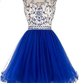 Ubridal US Women Beaded Prom Dress Short Tulle Homecoming Dress Hollow Back Party Dress