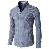 Doublju Men's Casual Stripe Patterned Button Down Shirts With Long Sleeves KMTSTL0121