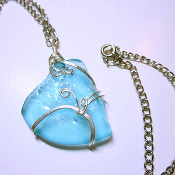 Wrapped Sea Glass, Sea Glass Necklace, Nautical Jewellery, Wrapped Pendant, Sea Glass Pendant, Cape Cod Sea Glass, Sky Blue Sea Glass