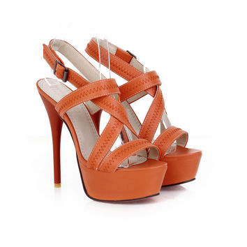 Brand New Sexy Orange Beige Apricot Women Glamour Platform Sandals Super High Heels Pumps Ladies Shoes AH-8 Plus Big size 34 43