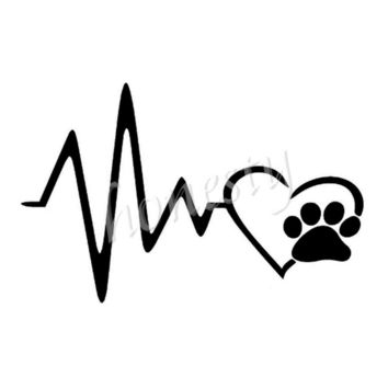 Heart Beat Paw Dog Wall Home Window Glass Door Car Sticker Laptop Auto Truck Black Vinyl Decal Sticker Decor Gift 13.3cmX11.5cm