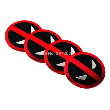 Deadpool Dead pool Taco 40 x Car Styling Cartoon  3D Metal Chrome Aluminium Alloy Wheel Center Cap Stickers Wheel Hub Cap Decals Emblems Badges AT_70_6