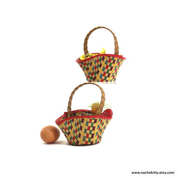 1940s Gift Basket Set, Multi Colored Natural Woven Baskets
