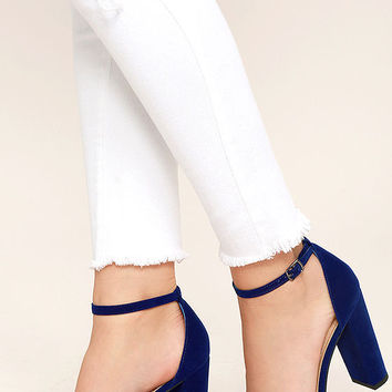 thoughts on classic styles quite nice Viviana Navy Blue Velvet Ankle Strap from Lulu*s