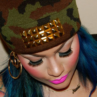 Camo Studded Beanie by BasementGold on Etsy