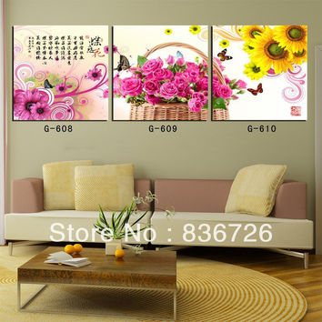 New Arrival 3 Pcs/Set Tradictional Chinese Calligraphy Painting Modern Wall Paintings Decorative Wall Art Picture Oil Paintings