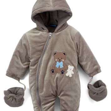 Newborn Boy's Velour Hooded Snowsuits with Mittens - Teddy Bear Embroidery - Size 0-9M - CASE OF 12