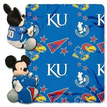"KANSAS JAYHAWKS 40""X50"" DISNEY MICKEY MOUSE HUGGER PILLOW & THROW BLANKET SET"