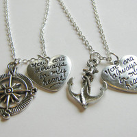 2 Anchor and Compass You Are Always In My Heart Best Friends BFF Sisters Couples Necklaces