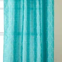 Stylemaster Hudson 55 by 84-Inch Embroidered Faux Silk Brass Grommet Panel, Turquoise