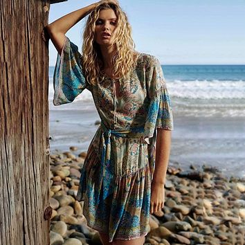 Jastie Gypsy Oasis Mini Dress Drop Waist Ruffle Hem Boho Beach Dresses Pleated Sleeve Casual Women Dress Short Summer Dresses