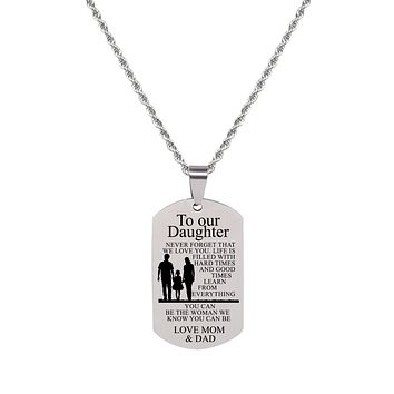 Sentiment Tag Necklace - TO DAUGHTER FROM MOM AND DAD
