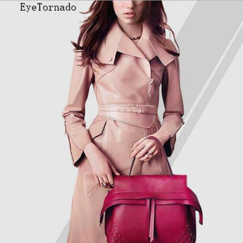 Women autumn winter fashion long casual belted work office faxu leather PU trench windbreaker coat S-XL British style 9822