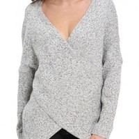 New Women Grey Chunky Irregular Front Cross Wrap Plunging Neck Oversized Fashion Knit Pullover Sweater