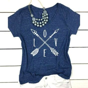 Love Cross Arrows - Women's Loose Casual V-neck T-Shirt