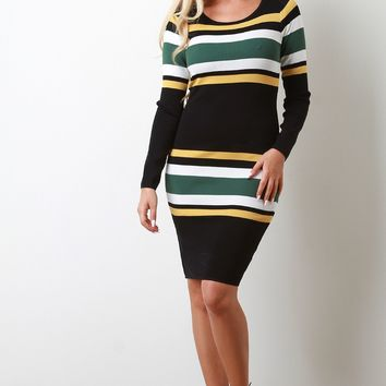 Contrast Color Stripes Maxi Sweater Dress