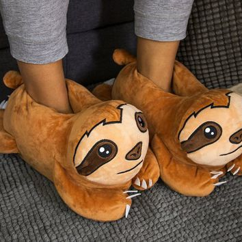 Sloth Plush Slippers  brown, micro plush, 100% polyester