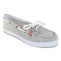 Campus Cruzerz Illinois Fighting Illini Kauai Boat Shoes - Women (Grey)