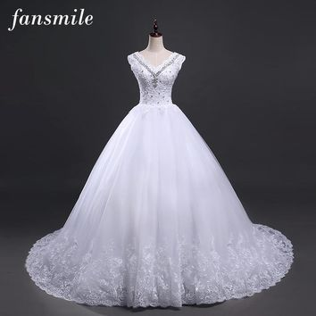 Fansmile Lace Up Ball Gown Quality Wedding Dresses 2017 Small Tail Plus Size Bridal Wedding Dress Real Photo Free Shipping