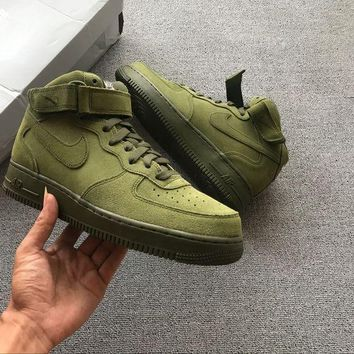 Nike Air Force 1 07 Mid Olive Green For Women Men Running Sport Casual Shoes Sneakers