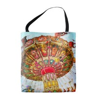 Blue vintage carnival swing ride photo tote bag