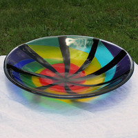 Rainbow Swirl Fused Stained Glass Decorative Bowl