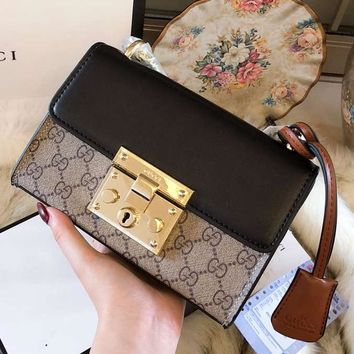 GUCCI 2018 new women's lock buckle shoulder bag Messenger bag F-BCZ(CJZX)