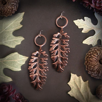 Bronze Fall Leaf Earrings - Handmade in Austin, Tx - Plant Jewelry - made by Jamie Spinello
