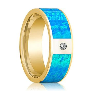 Mens Wedding Band 14K Yellow Gold with Blue Opal Inlay and Diamond Flat Polished Design