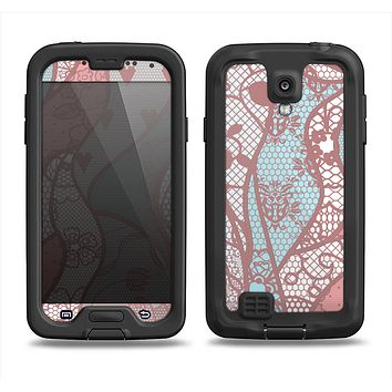 The Pink & Teal Lace Design Samsung Galaxy S4 LifeProof Fre Case Skin Set