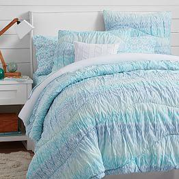 Surf Dip Dye Ruched Duvet Cover Sham From Pbteen Things I