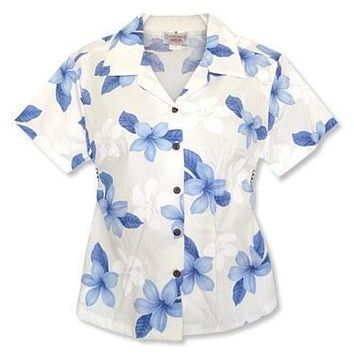 delight blue hawaiian lady blouse