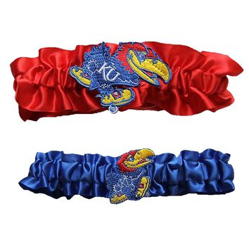 "Kansas Jayhawks NCAA Garter Set One to Keep One to Throw"" (Red/Royal Blue)"""