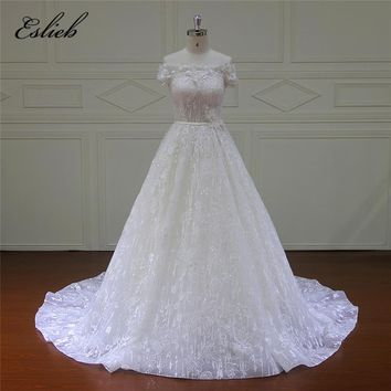 Eslieb Vintage A-Line Lace Wedding Dresses 2018 Strapless Off the Shoulder Sleeveless Court Train Button Back Bridal Gowns