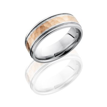 Cobalt Chrome 7.5mm Wide Hammered Rose Gold Wedding Band with Milgrain