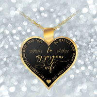 Husband Wife Necklace - Heart Pendant - Gold - Cute & Romantic-
