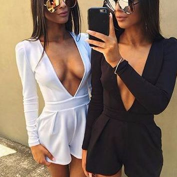 Solidly Chic Deep-V Romper