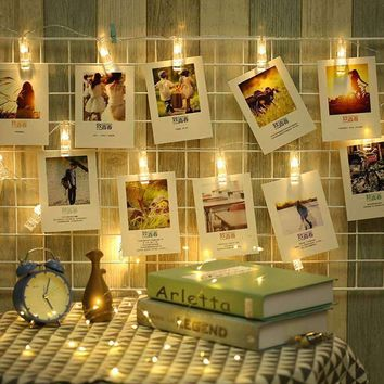Photo Card LED String Clip Lights - Battery Operated - Three Colors and Two