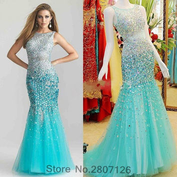 Ice Blue 2017 Mermaid Evening Dresses Beaded Rhinestones Wedding Party Formal Gowns Robe De Soiree Vestido Longo De Festa