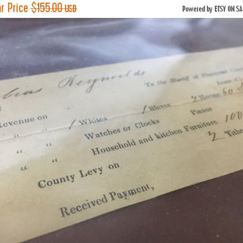 5 DAY SALE (Ends Soon) Original 1853 Pre- Civil War Virginia Slave and Tithe Tax Receipt - Excellent Condition