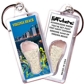 Virginia Beach FootWhere® Souvenir Keychain. Made in USA
