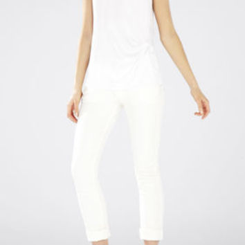 White BCBG Gesele Twist-Front Sleeveless Top