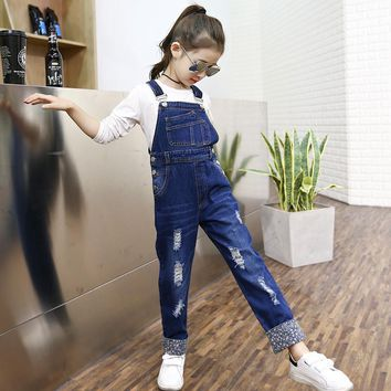 2016 Autumn Girls Infant Jeans Overalls Pattern Denim Pocket Jumpsuit Bib Pants Children's Jeans Clothes Baby Kids Overalls
